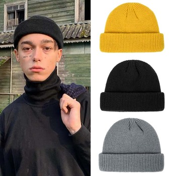 New Fashion Winter Hat for Men Solid Color Knitted Woman Beanies Short Ribbed Melon Unisex Leisure Accessories image