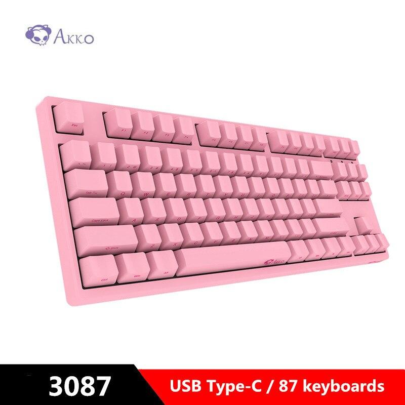 AKKO 3087 Gaming clavier mécanique interrupteur cerise côté sculpté lettre USB type-c filaire jeu d'ordinateur avec PBT keycap