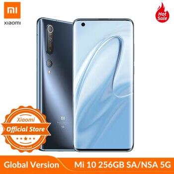 Купить Глобальная версия xiaomi mi 10 Snapdragon 865 5g SA/НСА 8GB 256GB смартфон Wi-Fi 6 LPDDR5 UFS 3,0 108MP Pro Камера 8K видео