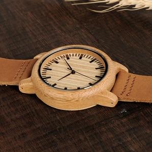 Image 4 - BOBO BIRD Casual drewniany zegarek mężczyźni bambusowe zegarki kwarcowe z skórzane paski relojes mujer marca de lujo z szkatułce