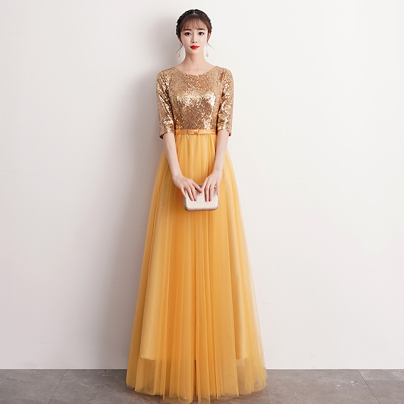 Large Chorus Women's Adult Costume 2019 New Style Students Long Skirts Modern Stage Clothing Middle-aged Evening Gown