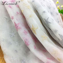 1yard New Star Embroidery bud silk gauze fabric clothing dress skirt DIY handmade mesh tulle