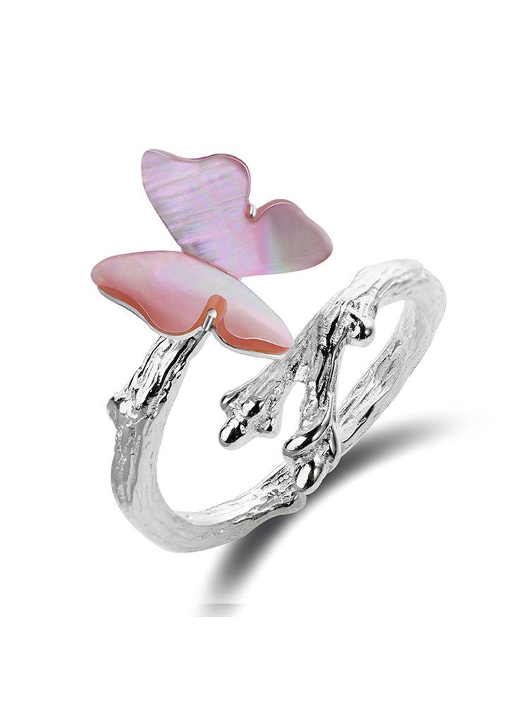 925-Sterling-Silver Ring Fine-Jewelry Lotus Fun Butterfly Natural Cute Women Real Original