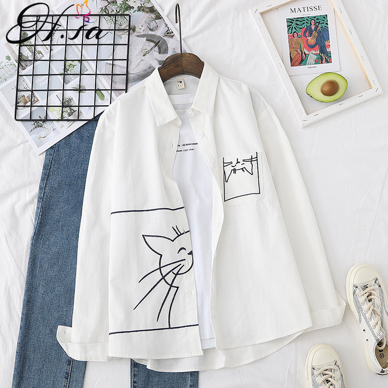 H.SA Women Spring New Cartoon Blouses Pocket Cat White Blouse And Shirts Long SLeeve Oversized Casual Blusa Tops Chic Cat Shirts