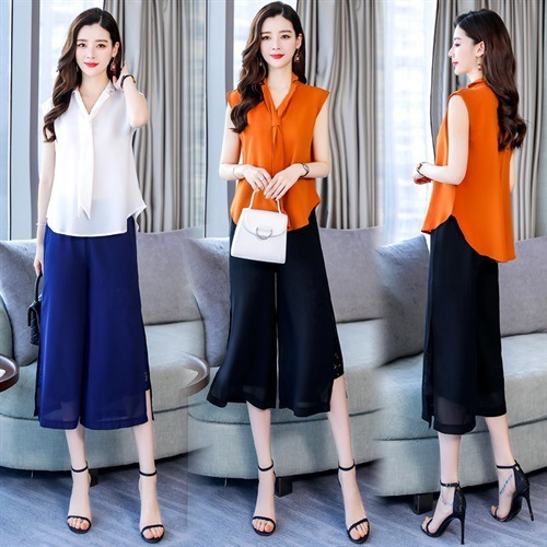 2019 New Style Two-Piece Set WOMEN'S Suit Sleeveless Solid Color Suit Collar Loose-Fit Chiffon Shirt Lace Joint Loose Pants