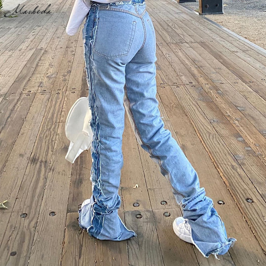 Macheda Autumn High Waist Slim Jeans For Women Fashionable Casual Pencil Pants Jeans Streetwear Washed Long Jeans Lady 2020 New