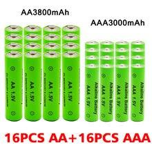 Aa 1.5 v 3800 mah / aaa 1.5 v 3000 mah bateria alcalina recarregável lanterna brinquedos relógio mp3 player substituir bateria ni-mh