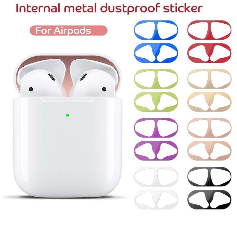 Protective Cover Dust-Proof Sticker For Apple Airpods 2 1 Film Iron Shavings Ultra Thin Skin Dust Guard For Airpod 2nd Earphones