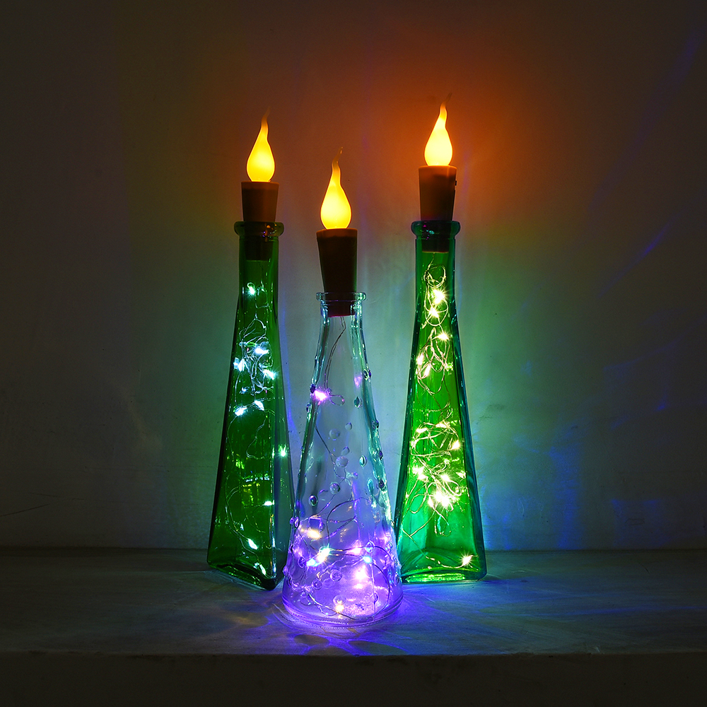 6 Pcs/pack Flame-Effect Candle Candle Wine Bottles Cork Lights Candle Wine Bottles Lights Candle Wine Bottles String Lights D25