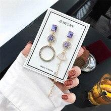 цена на Classic purple Rhinestone Geometric Women Dangle Earrings Long Asymmetrical Earrings For Women  gold colour Drops Earrings