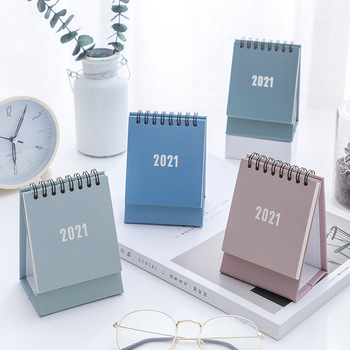 2021 Simple Morandi mini Desktop Paper simple Calendar dual Daily Scheduler Table Planner Yearly Agenda Organizer
