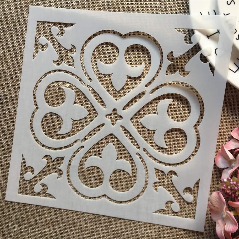 1Pcs 8*8inch Flower Clover Background DIY Layering Stencils Painting Scrapbook Coloring Embossing Album Decorative Template