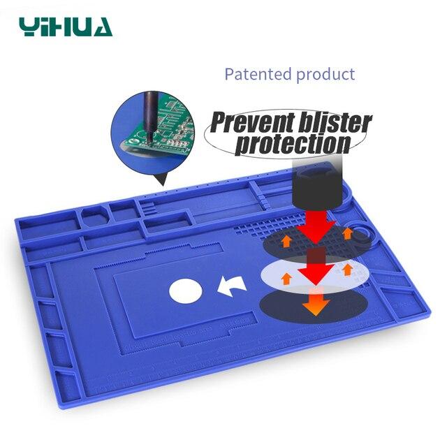 YIHUA مقاومة للحرارة لحام حصيرة مع المغناطيسي العزل الحراري لوحة العمل لحام سيليكون حصيرة لوحة إصلاح
