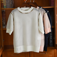 Summer Fashion women's brand new high quality hollow out T shirts Chic knitting Tee tops for women B746
