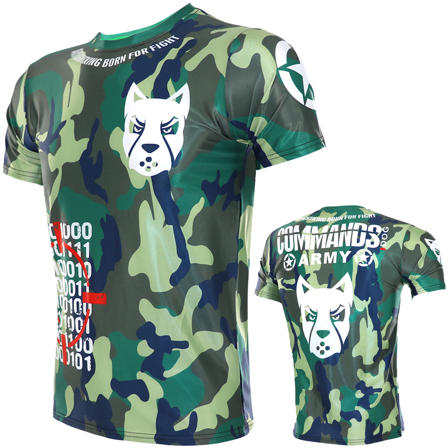 Fitness Muscle Fighting Boxing Camouflage Short-sleeved Sports Sanda Training Stretch T-shirt Fight MMA Quick-dry Running Shirts