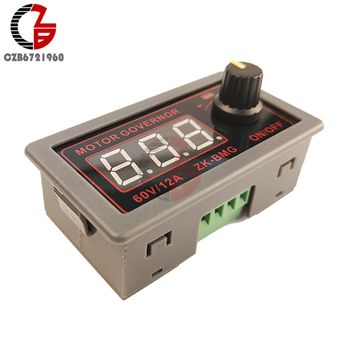 500W 12A 9V-60V PWM DC Motor Speed Controller Governer 12V 24V 48V Fan Speed Control Switch Adjustabt Frequency Duty Cycle image