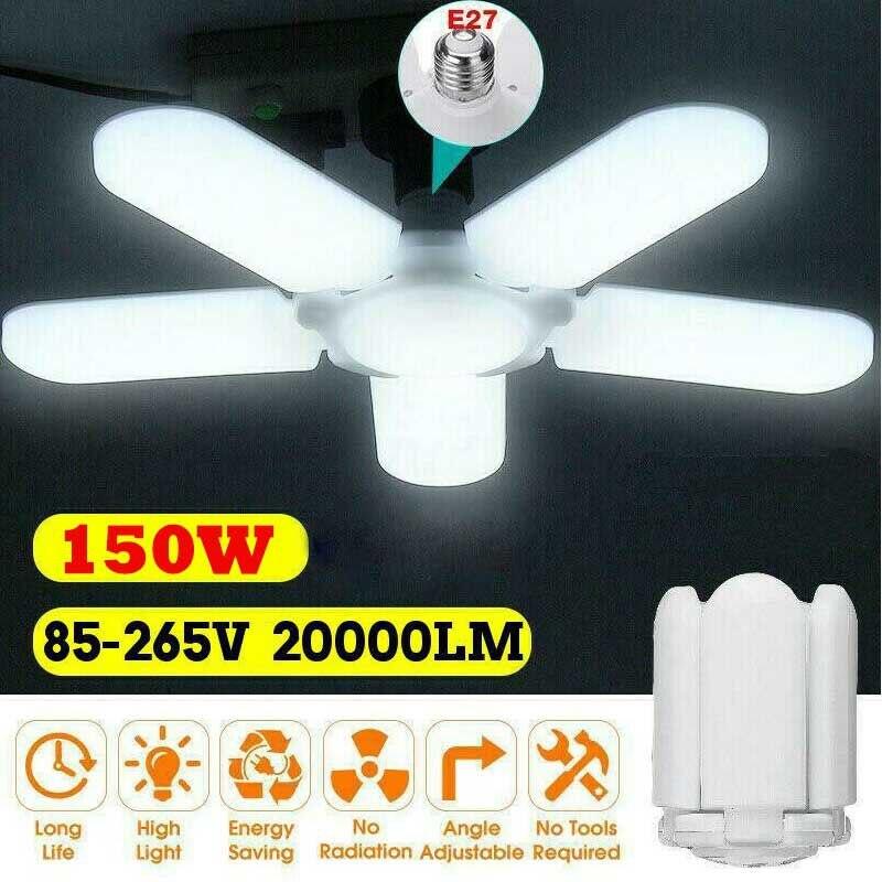 150W 20000LM 5+1 Blades LED Garage Light E27 Deformable Shop Ceiling Lamp