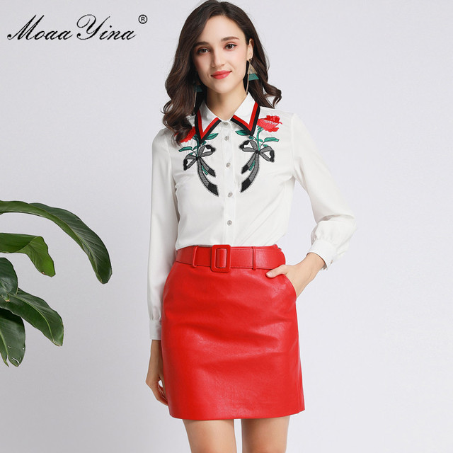 MoaaYina Fashion designerski strój wiosna jesień kobiety z długim rękawem koszula haftowana topy + PU krótka spódnica elegancki dwuczęściowy zestaw