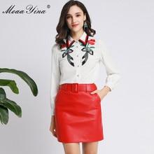 MoaaYina אופנה מעצב חליפת אביב סתיו נשים ארוך שרוול רקמת חולצות + PU קצר חצאית שני חלקים אלגנטיים סט