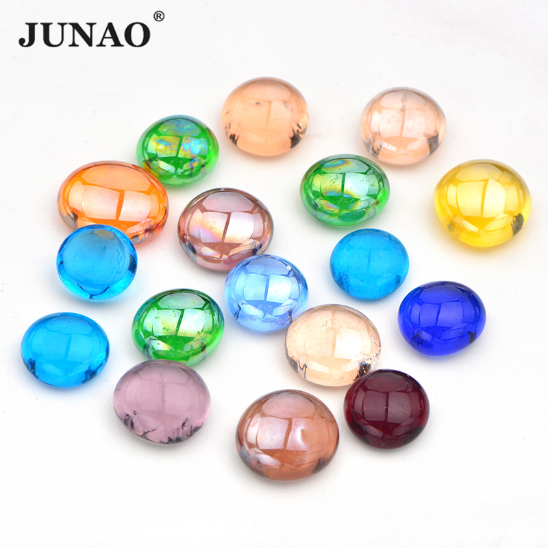 JUNAO 20pcs Mix Color Glass Mosaic Tiles Stones Round Cabochons Beads DIY Mosaic Making For Puzzle Arts Home Decoration Crafts
