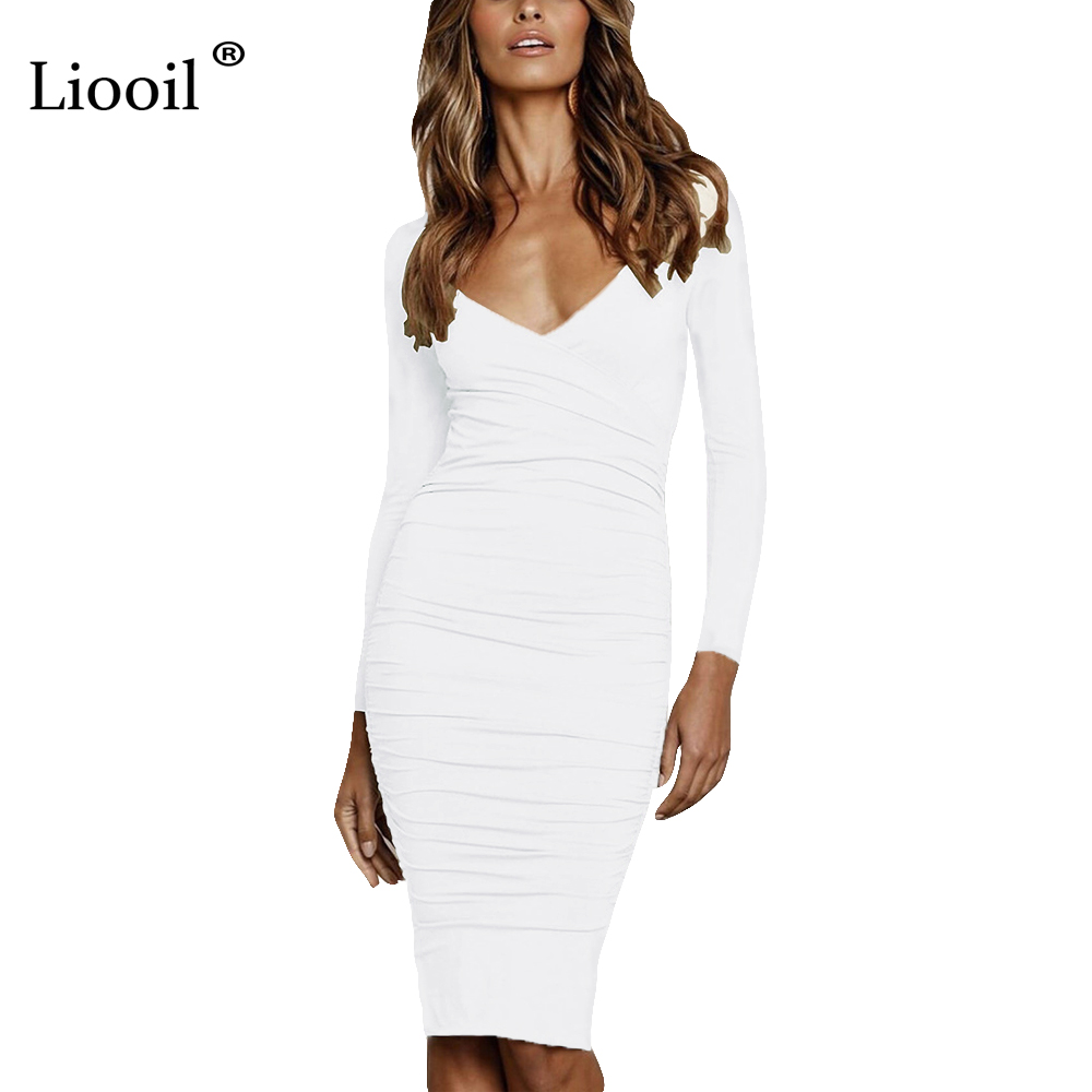Liooil Fall Sexy V Neck White Midi Bodycon Dress Women 2019 Autumn Winter Stretchy Long Sleeve Club Party Tight Fitted Dresses