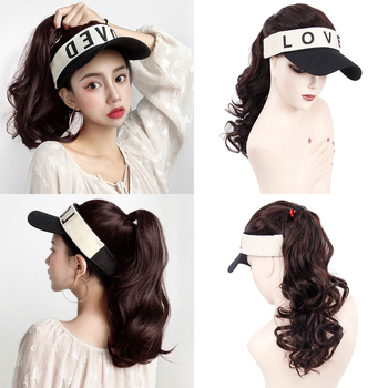 цена на fashion Adjustable white Women baseball Hats Wavy Hair Extensions With Black Cap Wig All-in-one Female Baseball Cap hatear