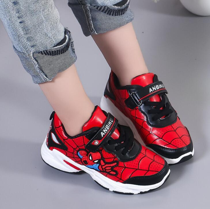 New Autumn Pu Leather Kids Sneaker For Boys Girls Fashion SpiderMan Cartoon Children Shoes Boys Running Shoes Red Blue