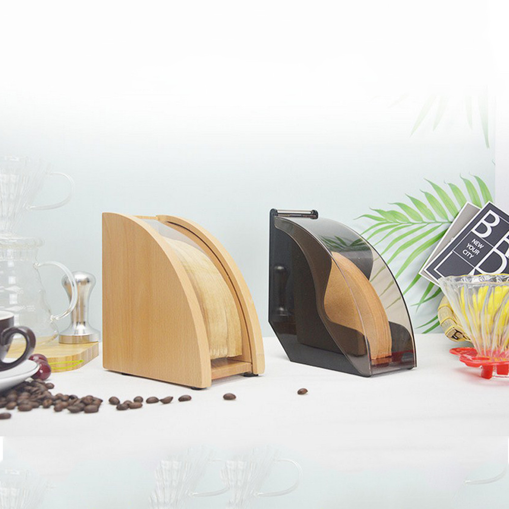 Hand Drip Coffee Filter Paper Holder with Cover V60 Cone Filter Paper Box Storage Rack Dust Proof Countertop Dispenser Stand
