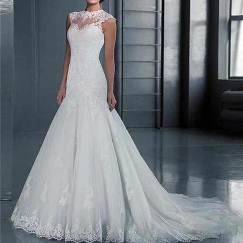תחרה אפליקציות חתונת שמלת 2019 בת ים כלה שמלת טול לבן Vestido דה Noiva
