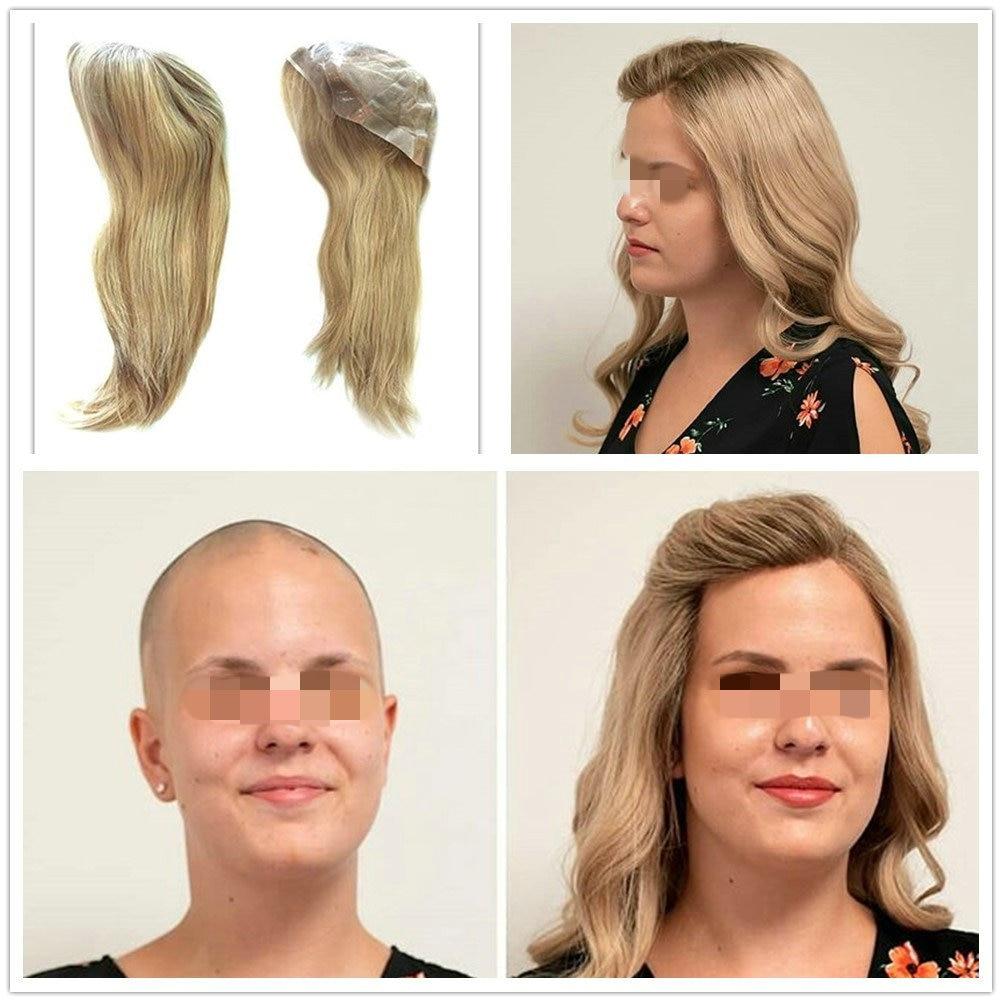 Hstonir Full Lace Human Hair Wigs Peruca Feminina Jewish Wig Kosher Meidical Wig Silicon European Remy Hair Blond G038
