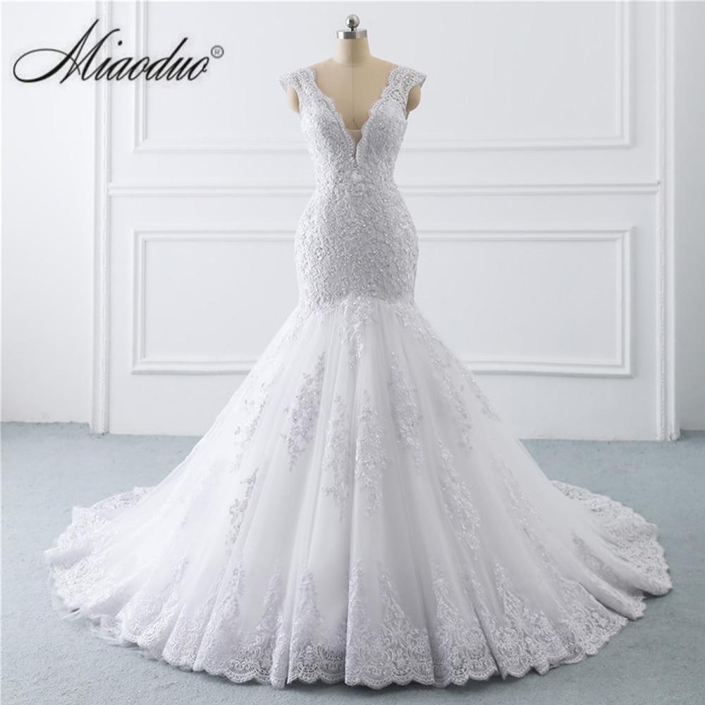 Clearance SaleWedding-Dress Pearls Mermaid White Plus-Size Lace Appliques Backless V-Neck Vestidos-De-Noiva
