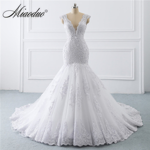 Plus Size Wedding Dress Mermaid Backless 2020 vestidos de noiva for Women Pearl V Neck White Lace свадебное платье suknia ślubna