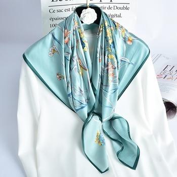 цена на 100% Pure Silk Square Scarves for Women Silk Bandana Kerchief Print Headscarf Nature Silk Scarf  Neckscarf Hijab Scarf 88x88cm