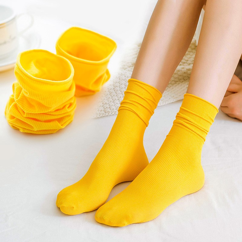 4 Pairs Fashion Japanese Korea High School Girls High Socks Loose Candy Colors Double Needles Knitting Cotton Long Socks Women