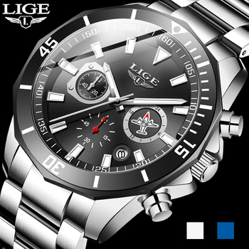 LIGE Men Pilot Watches Luxury Stainless Steel Waterproof Chronograph Fashion Sport Date Quartz For Relogio Masculino