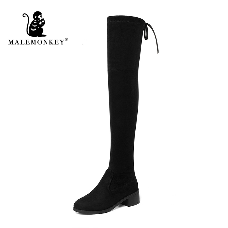 New 2019 Heels Women Shoes Over Knee Winter Boots Woman Suede Boot Ladies Thigh High Boots Ladies Snow Shoe Big Size