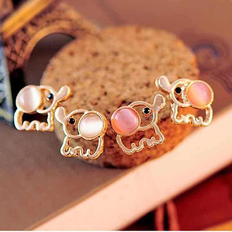 Femmes or couleur mignon éléphant boucles d'oreilles blanc rose strass oeil de chat pierre opale boucle d'oreille oreille animaux bijoux