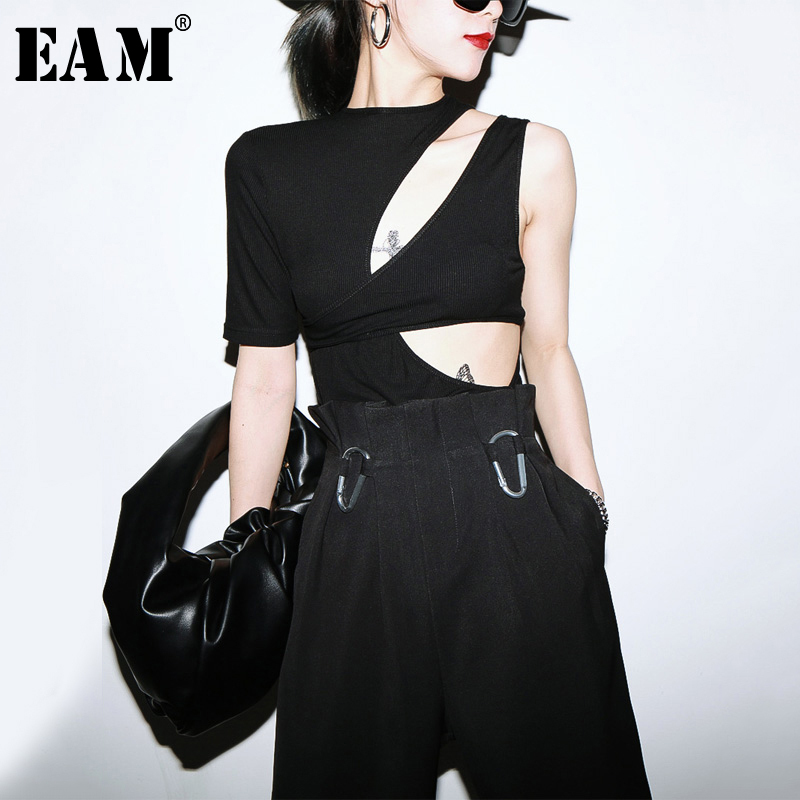 [EAM] Women Black Hollow Out Irregular Split Joint T-shirt New Round Neck Short Sleeve Fashion Tide  Spring Summer 2020 1U384