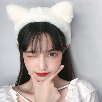 Korean Cute Cat Ears Headband Solid Color Coral Fleece Hair Hoop Soft Plush Wide Brimmed Head Hoop Sweet Women Hair Bands 2021 image