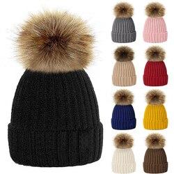 2020 pai da criança chapéus de inverno quente pompom de pele de malha gorro feminino bebê meninas menino de pele pom pom chapéu de esqui neve boné