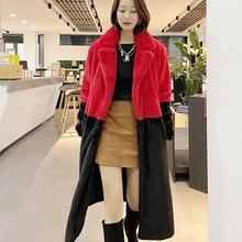 Coat Women Jacket Faux-Fur Warm Plush Winter Fashion Ladies New Lapel Parkas Female
