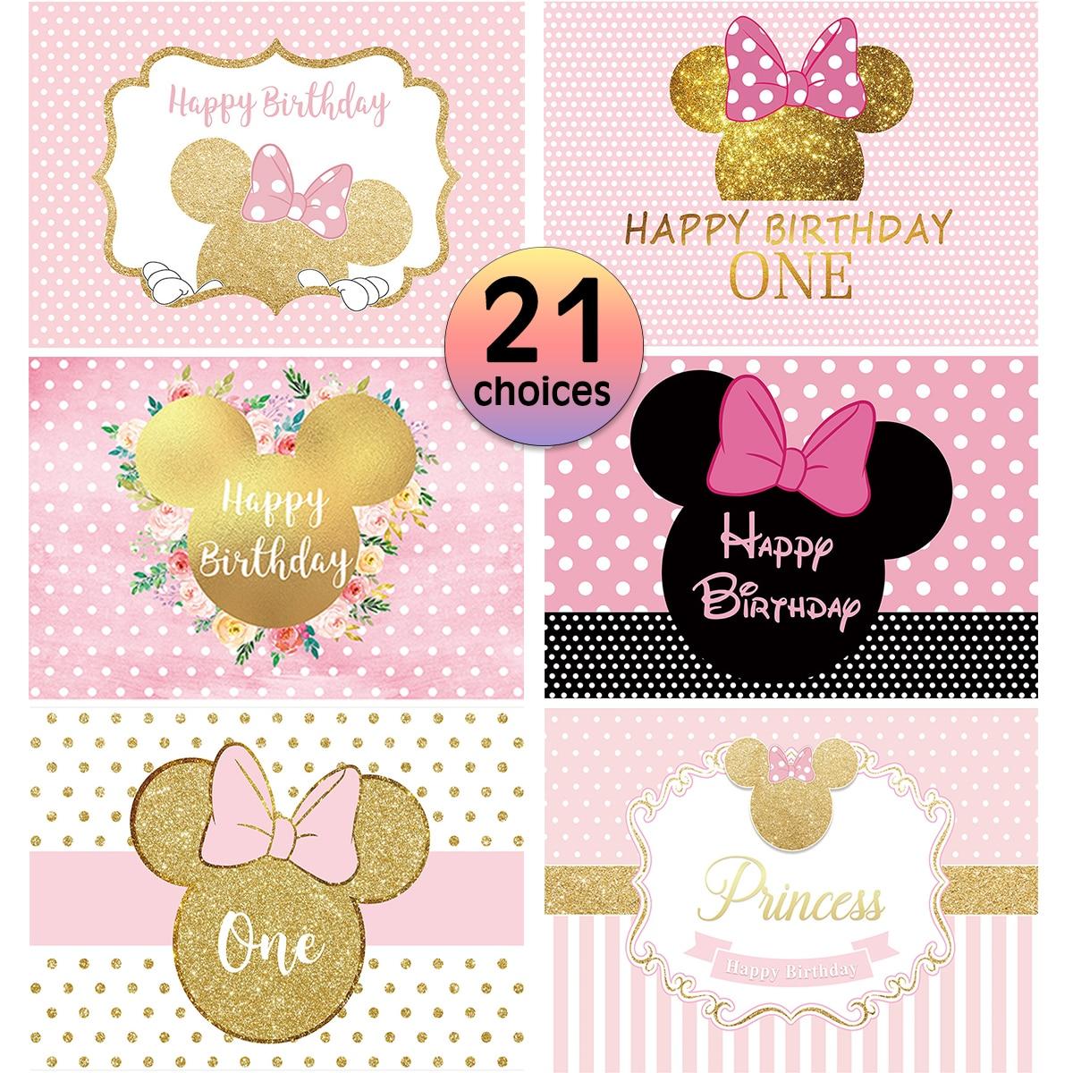 Allenjoy mouse aniversário pano de fundo dos desenhos animados festa rosa decoração da menina crianças chuveiro do bebê recém-nascido personalizar fundo photocall