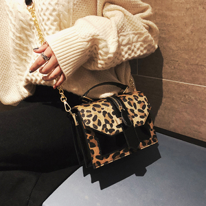 Image 3 - 2019 womens leopard PU leather shoulder bags lady solid black and burgundy crossbody chain handbags girl fashion sling bags