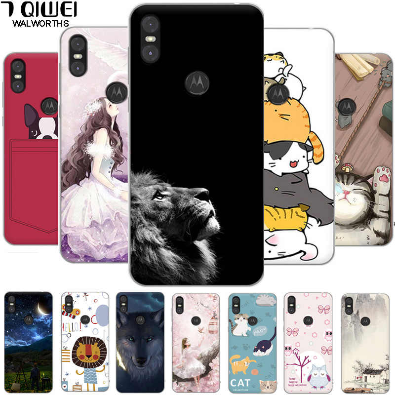 5.9'' Para For Moto One Case Silicone Soft Lion Back Cover For Motorola Moto One Case TPU Cover For Motorola P30 Play XT1941