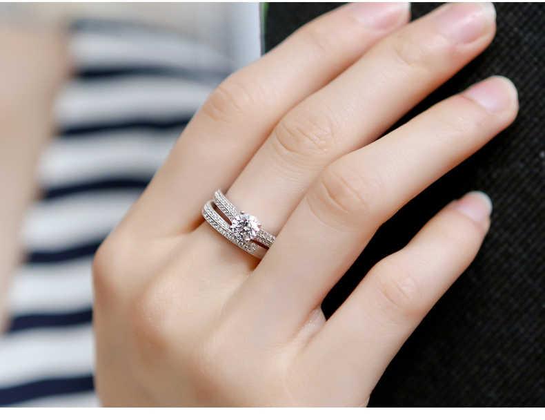 หญิงหรูหราคริสตัลชุดเจ้าสาวแฟชั่น 925 เงินงานแต่งงานเครื่องประดับสัญญารักหมั้นแหวน