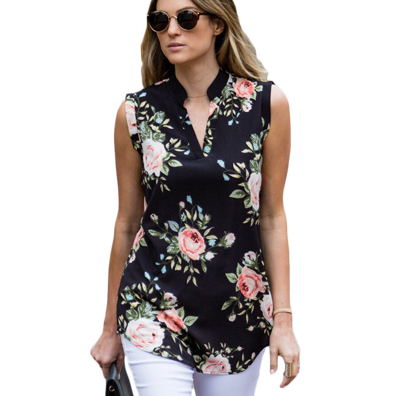 New Summer Sleeveless 2019's Shirt Blouse Women Casual Loose Floral Blouse V Neck Top Chiffon Work Wear Office Blouse Shirt