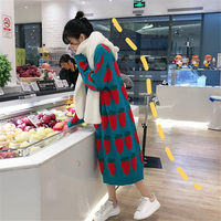 New Knitted Sweater Dress Autumn and Winter Radish Pattern Loose Long Pullover Big Size Female O neck Knit Dress Fashion Vestidos f1932