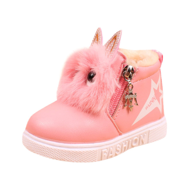JAYCOSIN cute boots girls leather PU snow boots kids shoes Autumn and winter children's plus velvet warm snow boots X0511