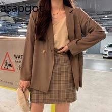 Suits Skirts Blazer Vintage Plaid Mini Women Korean Coat Full Camisole Chic-Spring Elegant