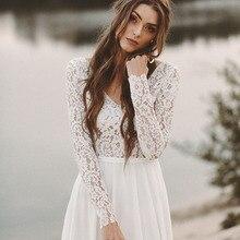 SINGLE ELEMENT Long Sleeve Lace Chiffon Backless Cheap Boho Wedding Dress